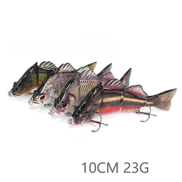 Nuevo material de ABS 4 secciones Swimbait Hard Multi articulado señuelo de la pesca de cebo para la pesca de trucha bajo