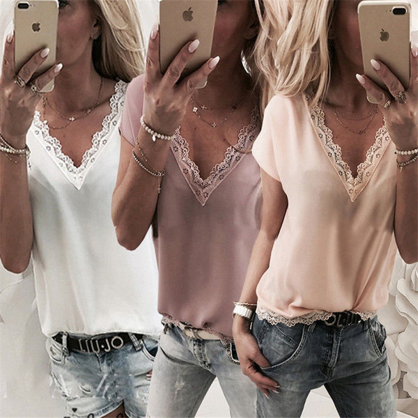 2019 New style women tops fashion solid color short sleeve chiffon t-shirt ladies sexy v-neck blouses