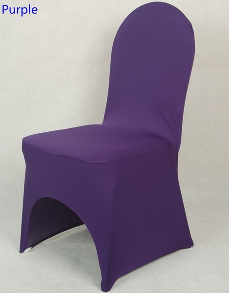 Purple colour lycra universal chair cover for wedding decoration spandex chair cover on sale banquet chair arch front open
