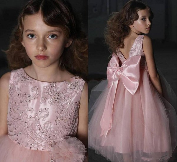 best selling Pink Hot Sale Girl's Pageant Dresses Embroidery Satin Ruffles Kids Girls Formal Occasion Princess Flower Girl Dresses With Big Bow Sash
