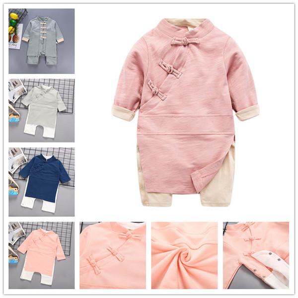 Nuevo estilo chino Bebé manga larga onesie bebés niños niñas Han ropa china moda Estilo creativo Romper trajes foto traje B11