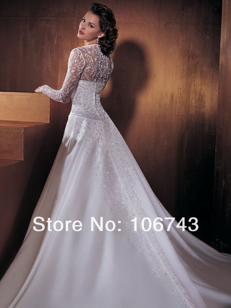 fast shipping 2019 new in stock a-line lace cheap discount bridal gown white wedding dresses with long sleeves jacket