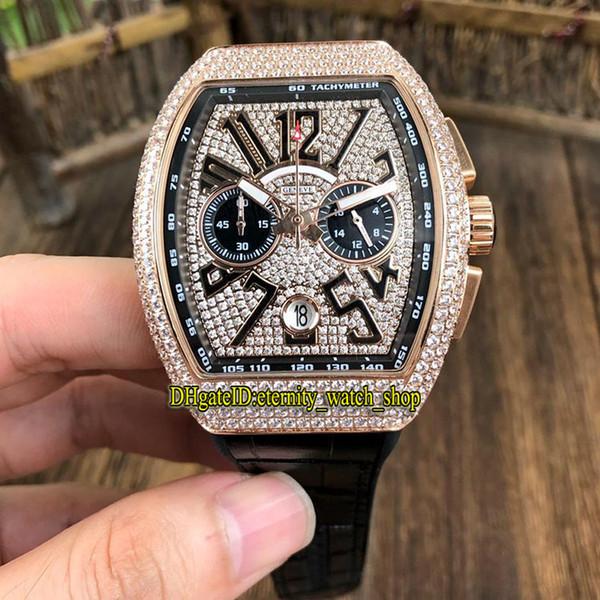 New MEN'S COLLECTION VANGUARD V 45 CC DT BR (TT) Diamonds Dial Japan VK Quartz Chronograph Movement Mens Watch Diamond Case Sport Watchtches