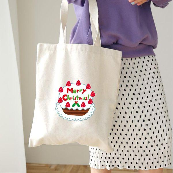 Christmas Canvas Capacity Handbag Shopping Shoulder Shopper Tote Bag