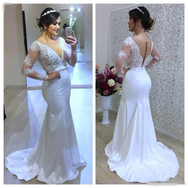 Gorgeous V-neck Mermaid Wedding Dresses 2019 Plus Size Appliques Lace Bride Gowns Long Sleeveless Sweep Train Custom Made robe de mariée
