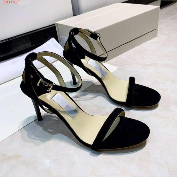 Moda yaz yeni stil dekolte yüksek topuklu stiletto ayakkabılar Düz renk basit şerit Exposed ayak sandalet 8.5 cm yüksek