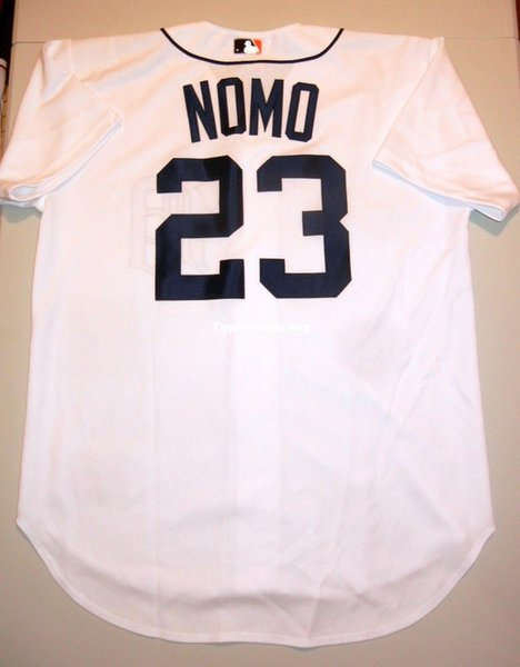 Cheap Retro HIDEO NOMO #23 Top Russell Athletic DETROIT Jersey White Mens Stitched Baseball jerseys