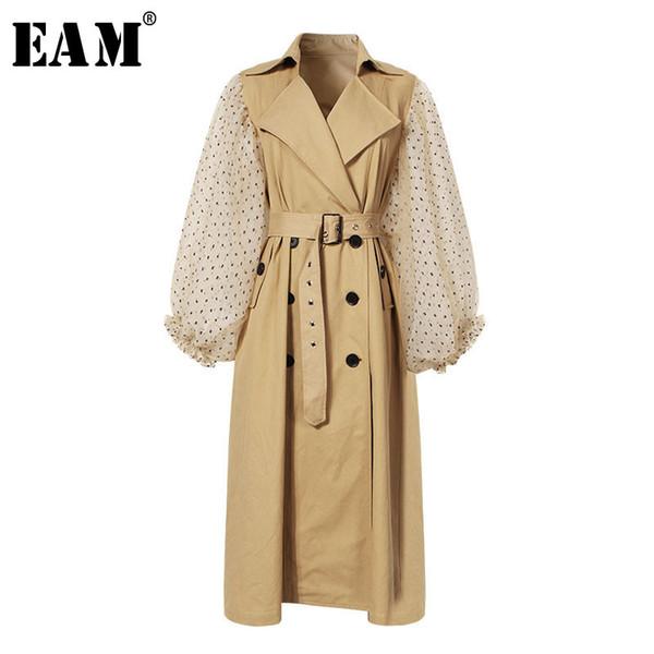 [EAM] 2019 New Spring Lapel Long Puff Sleeve Sashes Dot Mesh Stitching Loose Long Windbreaker Women Coat Fashion JH394 Y190920