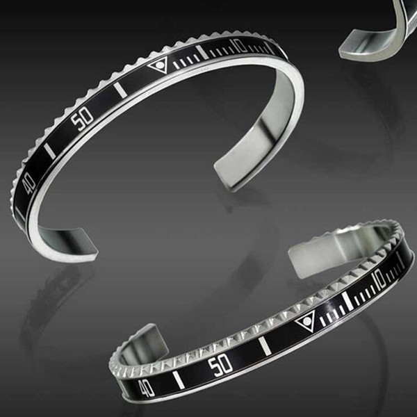 Luxury Fashion Style Watches Scale C Cuff Bangle Stainless Steel Bangle Mens Jewelry Party Designer Digital Bracelets Bangle for Women Men