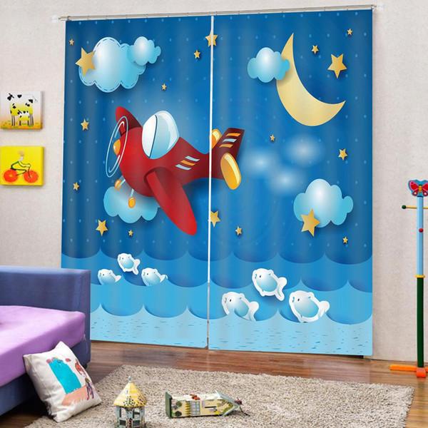 Cartoon Flugzeug Muster Duschvorhang Stoff Schlafzimmer Kinderzimmer Verdunkelungsvorhänge mit Haken