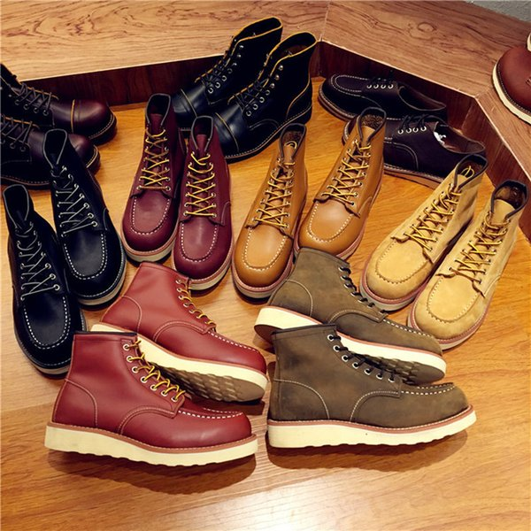 Vintage Men Boots Lace-up Genuine Leather Boots Wing Men Handmade Work Travel Wedding Ankle Casual Fashion Red 875