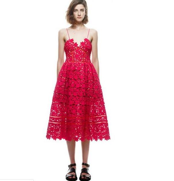 2019 self portait Dress Новая мода 2019 дизайнер взлетно-посадочной полосы красно-белое платье женская сексуальный ремень кружева платье середины икры