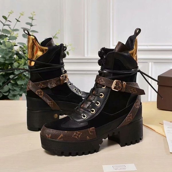 2019 New Women Designer Laureate Platform Desert Boots Triple Black Womens Thick Bottom Leather Martin Boot Fashion Ankle Shoes With Box