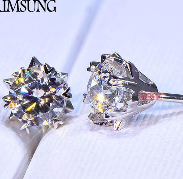 1 CT Solid 925 Aniversario de bodas de plata Moissanite Diamond Stud Pendiente Banda de compromiso Joyería de moda Hombres Punk Drop envío