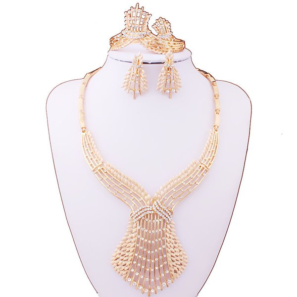 Necklace earrings bracelet ring set of four gold-plated phoenixtail wedding gifts, luxurious African bridal jewelry set