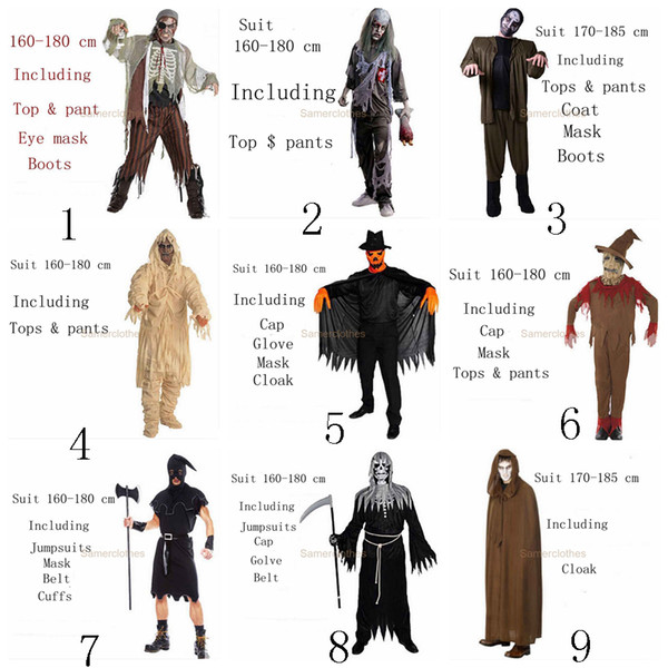 27 Style Halloween Costumes For Women And Men Adult Terror Cosplay Funny Clothes Bleach Pirate Maid Surgical Doctor Zombie Horror Costume