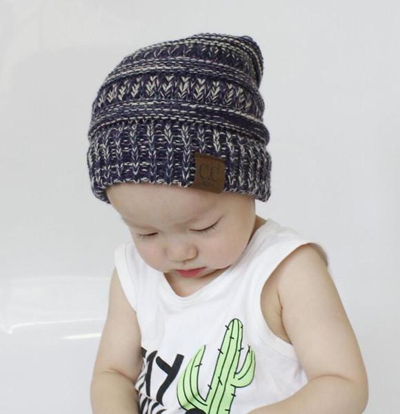 Compre Niños CC Sombreros De Punto Moda Niños Crochet Blend Beanie ...