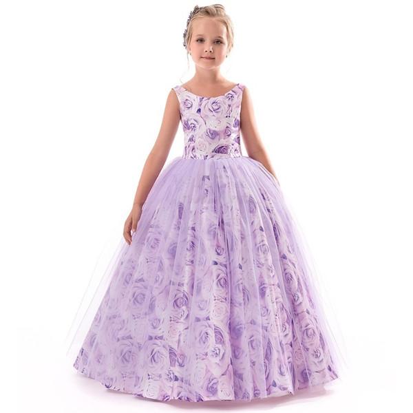 Lila Mädchen Lange Blume Party Ballkleid Prom Kleider Für Mädchen Kinder Prinzessin Hochzeit Jugendliche Kinder Erstkommunion Kleid Y190518