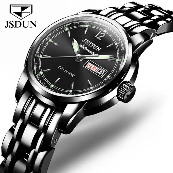 JSDUN Woman Automatic Watch Female Mechanical Watches Fashion Stainless Steel Casual Sapphire Dial Full Steel  Lady Watch