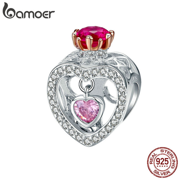 2019 925 Sterling Silver Queen Princess Crown Love Heart Crystal Beads Charm Fit Women Bracelets Bangles Necklaces Diy Jewelry Anniversary Gift From