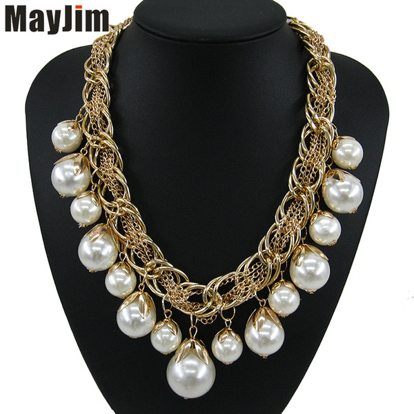 Mayjim Pearl Necklace Fashion For Women Long Collar Gold Chain Chocker Big Beads Necklaces & Pendants Jewelry C19041201