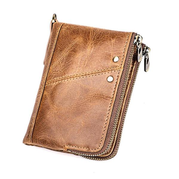 2019 marke männer brieftasche aus echtem leder kurze brieftaschen männlichen multifunktionale rindsleder geldbörse münzfach russische führerschein