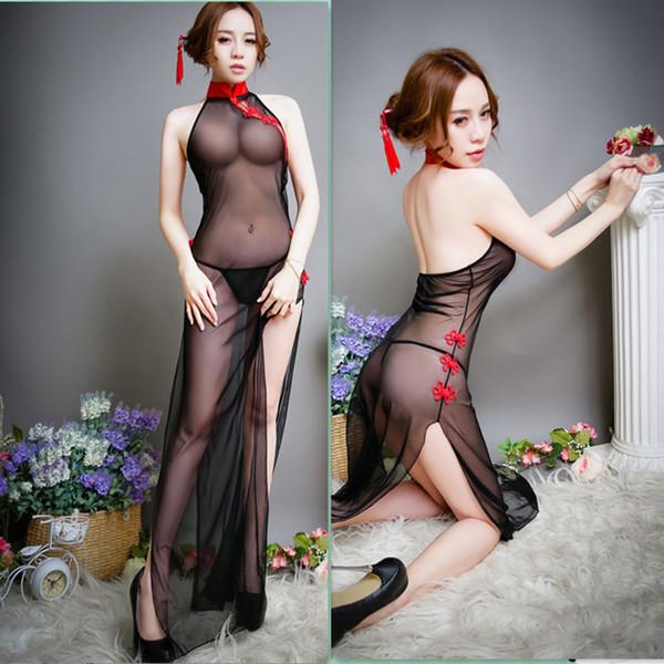 Costumi sexy lingerie sexy donna calda cosplay vestiti da cameriera costumi di sesso intimo intimo lungo cheongsam intimo