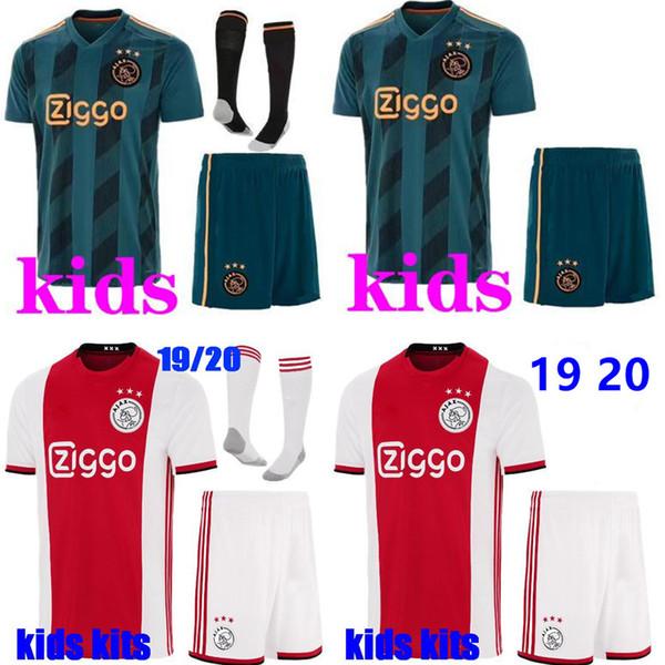 2019 2020 Ajax Fußball Trikot Kids Kits + Socken TADIC ZIYECH DE JONG DOLBERG HUNTELAAR SCHONE VAN DE BEEK 19 20 Meister Fußball Trikot Kids