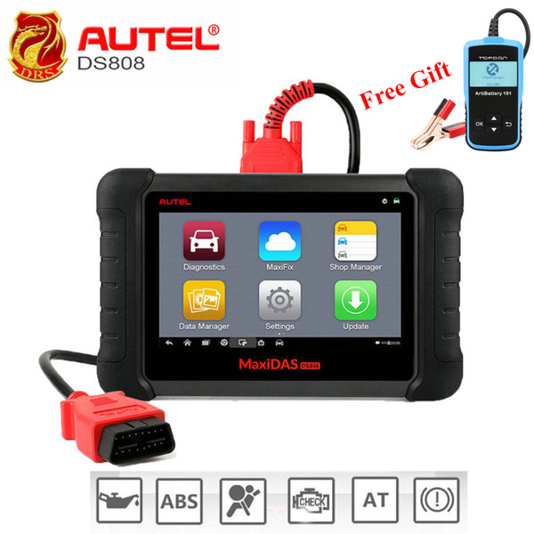 Autel MaxiDAS DS808 OBD2 Scanner Full System Automotive Diagnostic Tool OBDII Scan Tool Key Programming Machine Multi-language