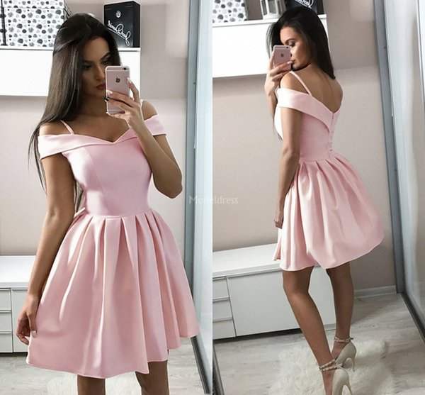 Modern Pink Homecoming Dresses V-Neck A Line Draped Open Back Short Prom Gown Mini Special Occasion Dress Cheap Party Cocktail Gowns Vestido