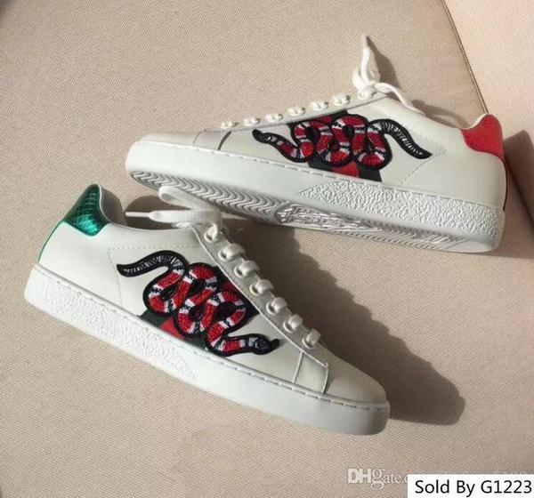 Женщины Мужчины S Повседневный Low-Top G Espadrilles обуви Кроссовки Вышивка Bee Змея Тигр натуральная кожа плоские туфли 35-45