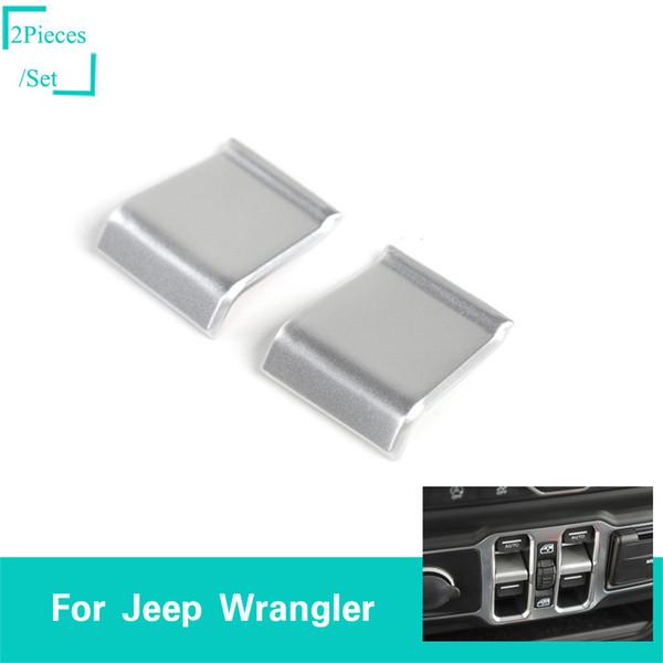 Decoração de prata do remendo da chave de janela do carro do ABS para o Wrangler do jipe JL 2018 Acima de acessórios internos do automóvel de Quatlity da tomada de fábrica