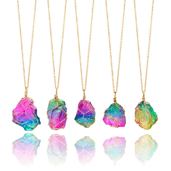 Colorful Natural Raw Stone Pendant Necklaces Multicolor Crystal Transparent Gold Chain Necklace Chokers Jewelry Accessories Wholesale