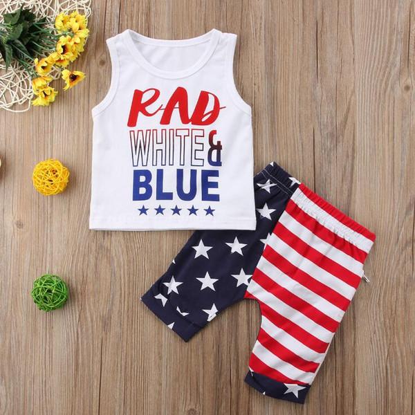 Conjunto de trajes del 4 de julio de 2019 Verano para niños bebés Sin mangas Chaleco de algodón Tops Estrellas de la raya Pantalones cortos Pantalones para niños pequeños Vestidos para el día de la independencia