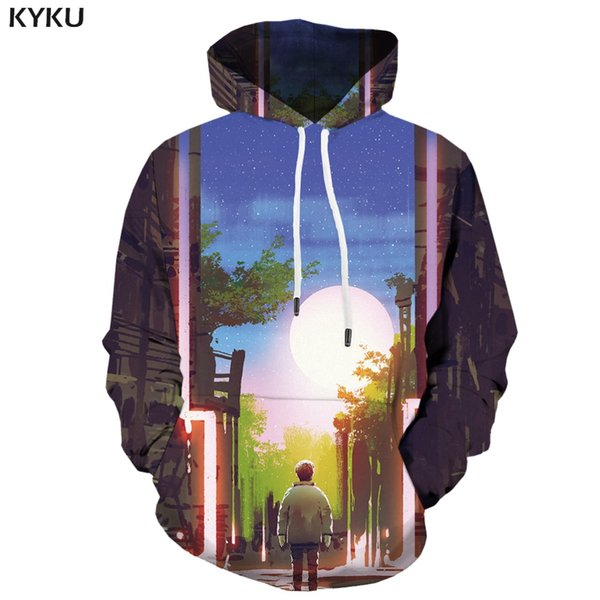 KYKU 3d Hoodies Forest Hoodie Men Moon Hoodes 3d Character Hooded Casual City Hoody Anime Art Hoodie Print undefined