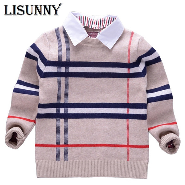 best selling 2019 Shirt collar Boy Sweaters Baby stripe Classic Plaid Pullover Knit Kids Clothes Autumn Winter New Children Sweater Clothing
