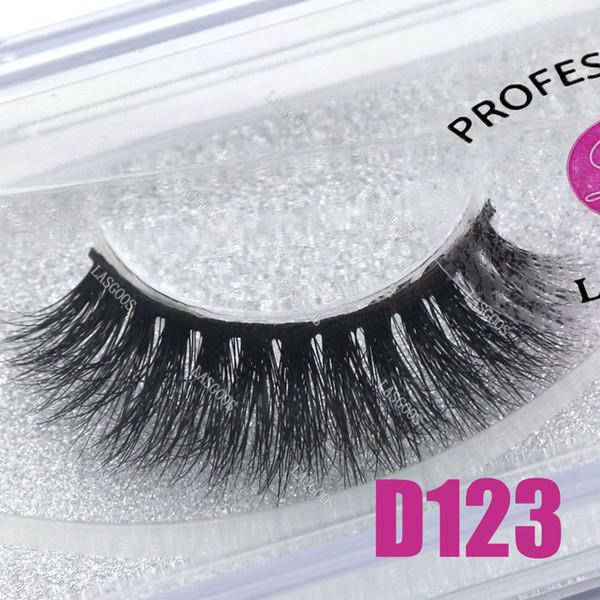 LASGOOS 1 Pair Boxed 100% Mink 3D Fluffy C Curl Fake Lashes Eye Downy Short 13mm False Eyelashes D123