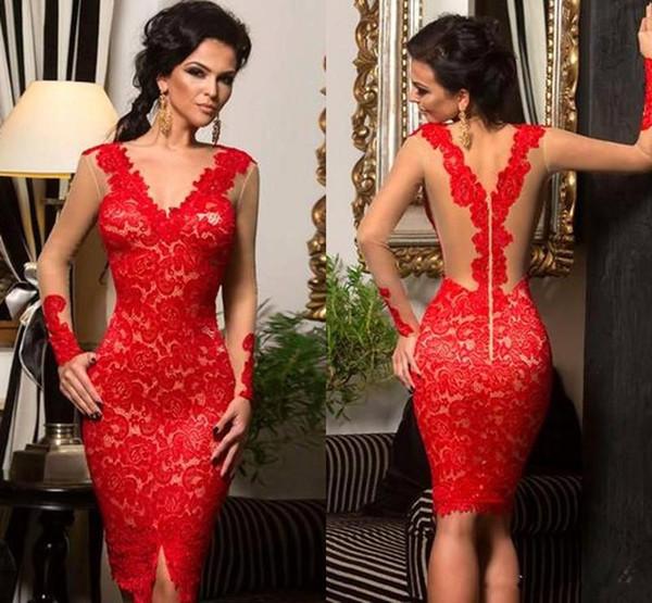Sexy Ilusão Mangas Compridas Rendas Vermelhas Vestidos de Baile na Altura Do Joelho Bainha Curto Vestidos de Noite Custom Made Ocasião Especial Vestido Mãe Vestido