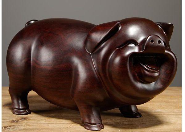 Acheter Bois Decore Ebene Sculpture Sur Bois Cochon Sculpture Sur Bois Massif Sculpture Securite A La Maison La Prosperite Meilleurs Voeux Ornements