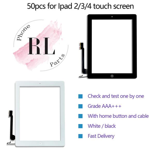 50 STÜCKE touchscreen qualität für iPad 2/3/4 digitizer frontscheibe ersatzglas Assembly mit Home-Taste