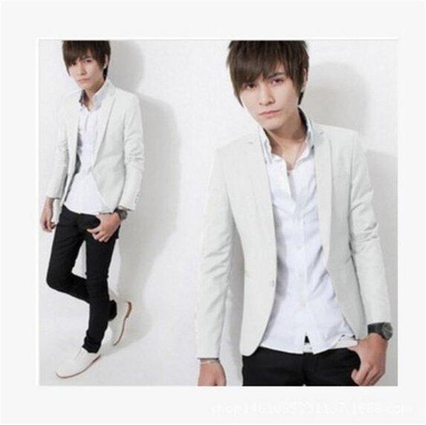 9 couleurs M-3XL Plus La Taille Hommes Blazer Mode Solide Slim Suit Veste 2019 Printemps Mâle À Manches Longues Seul Bouton Décontracté Costumes