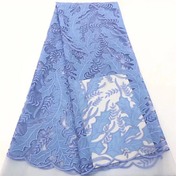 VILLIEA Céu Azul Africano Tecido de Renda Tecido Francês Nigeriano 2019 de Alta Qualidade Africano Francês Tulle Lace Tecido de Design Suave