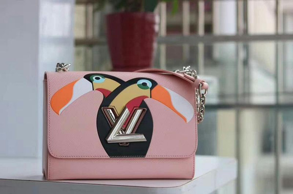 2019 M50287 Twist Denim Fashion Pink Toucan Chain Shoulder Bags Hobo Handbags Top Handles Boston Cross Body Messenger Shoulder Bags