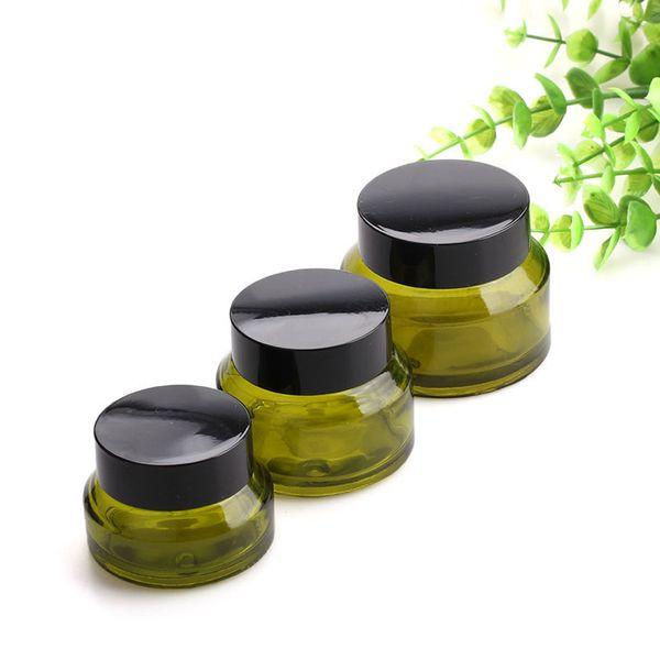 15 30 bouteilles de pot en verre rechargeables en verre rechargeables de couleur verte de 50ML pour la crème pour le visage, le blam à lèvres, le récipient de lotion de masque facial de crème de maquillage