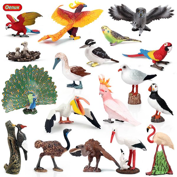 oys Hobbies Action Toy Figures Oenux Classic Bird Animal Flamingos Parrot Sea Mew Peacock Owl Ostrich Model Solid PVC Action Figures Mini...