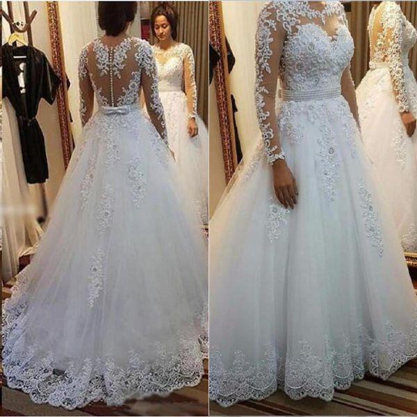 Bijou cou tulle une ligne robes de mariée vintage avec manches longues bouton dos dentelle perles robe de mariée