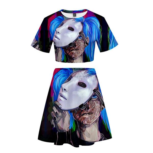 2019 New 3D sally face Short Skirt Suit Short Sleeve T-shirt and Skirt Piece Kpop Girl Casual Kpop Style Sets