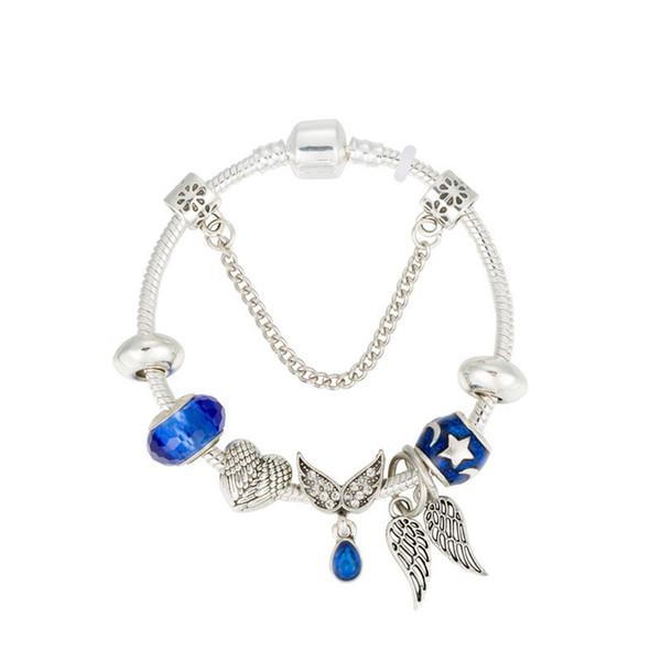 Silver Snake Chain DIY Charm Bracelet With Snowflake Wing Heart Enamel Blue Bead Fine Bracelets For Women Kids Jewelry with gift box