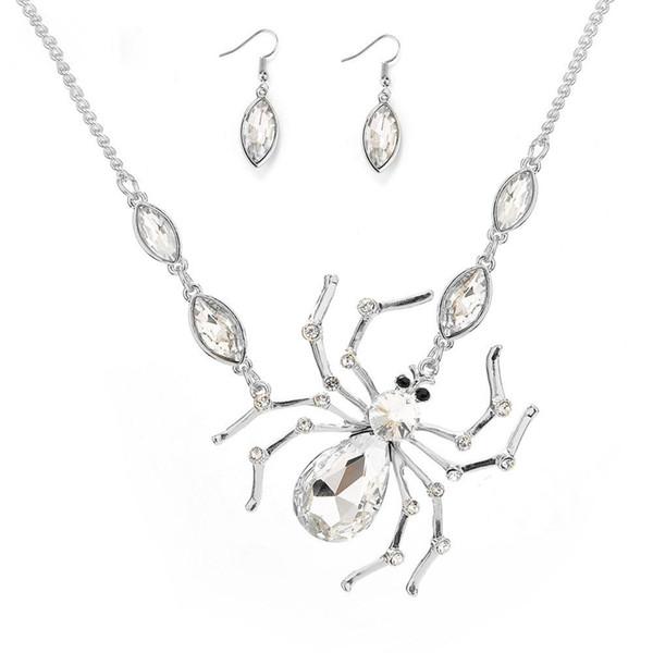 Juego de joyas de araña para mujeres Cubic Zirconia Pendientes largos y collar Juego de joyas de moda Regalo de Navidad lindo Conjunto de joyas elegantes