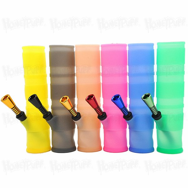HOT SELL 198mm Portable Bangs incassables eau colorée silicone Fumer Conduites d'eau pliable Bong de brûleurs à mazout Dab outil pipe à eau Fumer